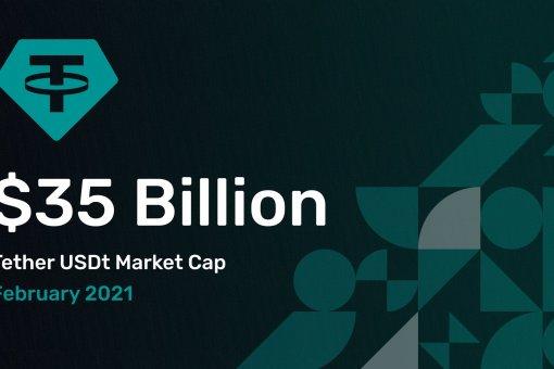 Общая рыночная стоимость USDT превысила 35 миллиардов долларов США